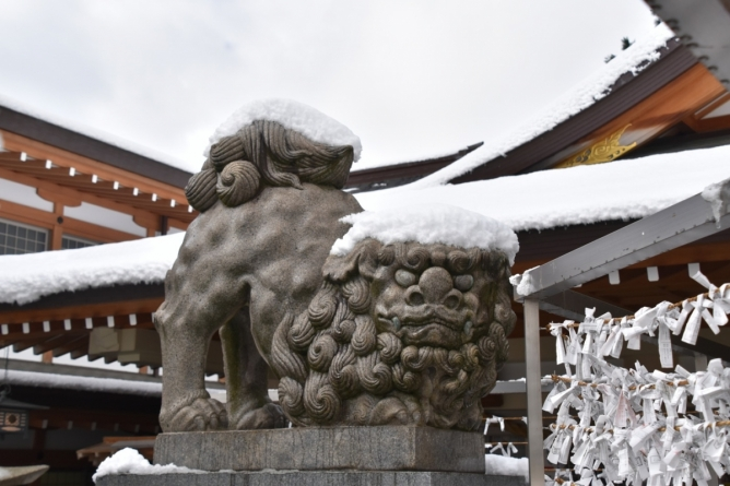 Snowbound tondo festival at Gokoku Shrine, Hiroshima